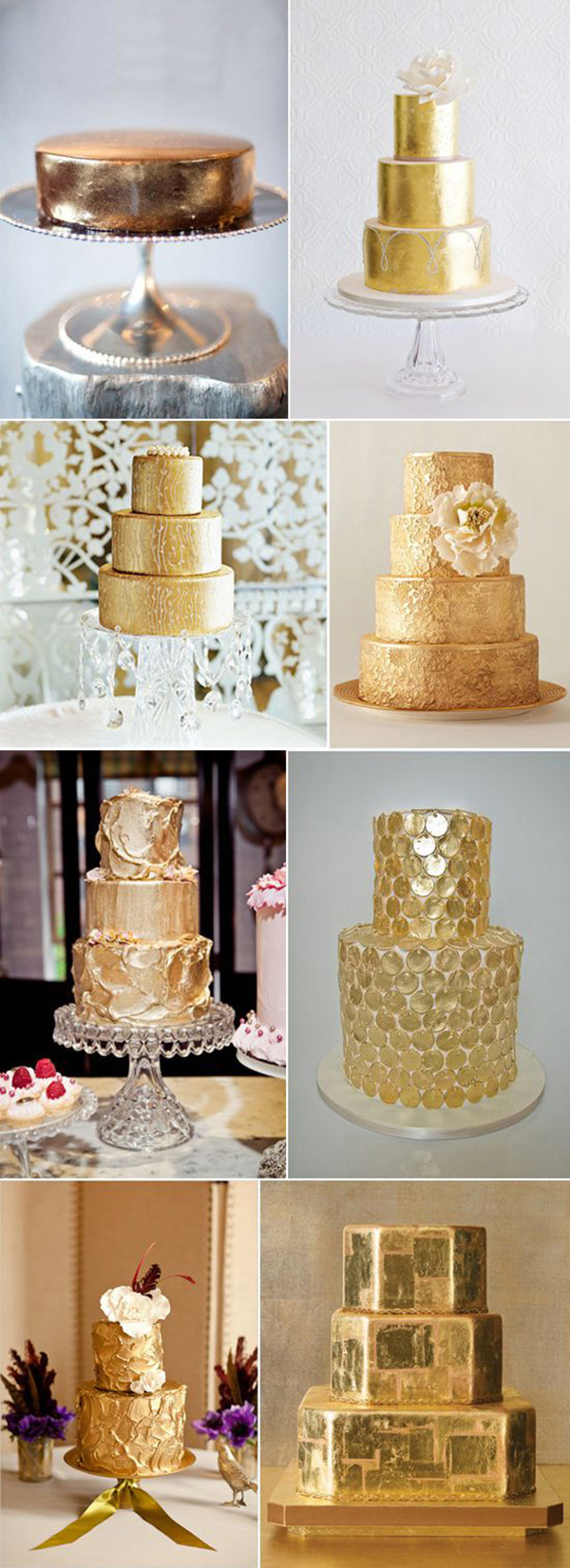 beautiful metallic gold wedding cakes
