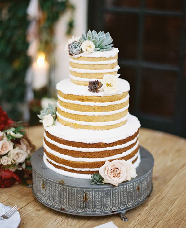 beautiful simple naked wedding cake ideas with succulents