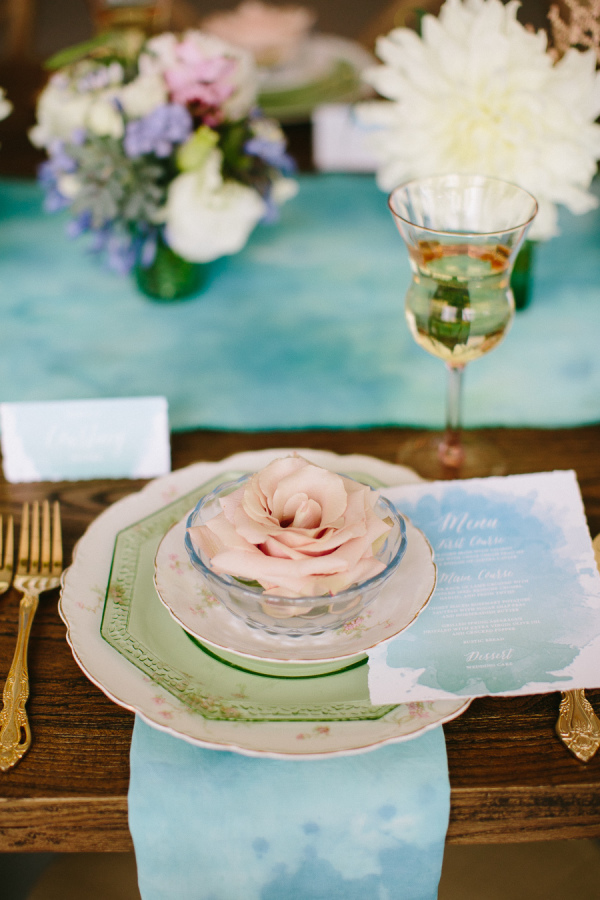 blue and green watercolor table settings wedding decoration ideas