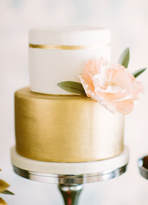 blush pink and gold metallic wedding cakes