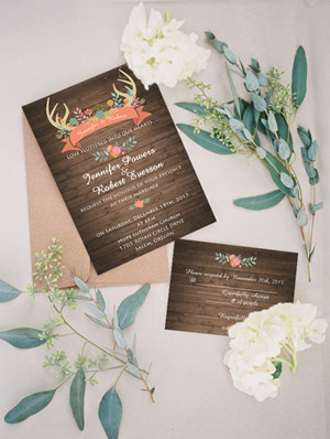 chic rustic boho themed wedding invitations