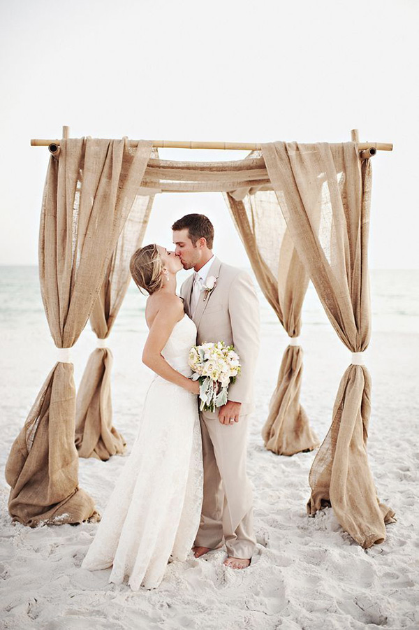 chic rustic lace and burlap beach wedding altars