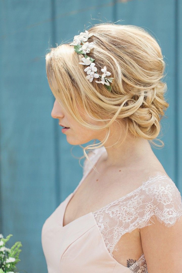 classic wedding hairstyles with floral bridal headbands