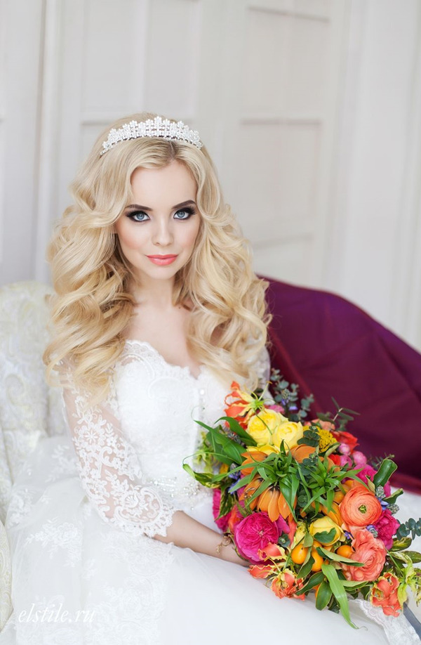 crown bridal headpiece for down wedding hairstyles