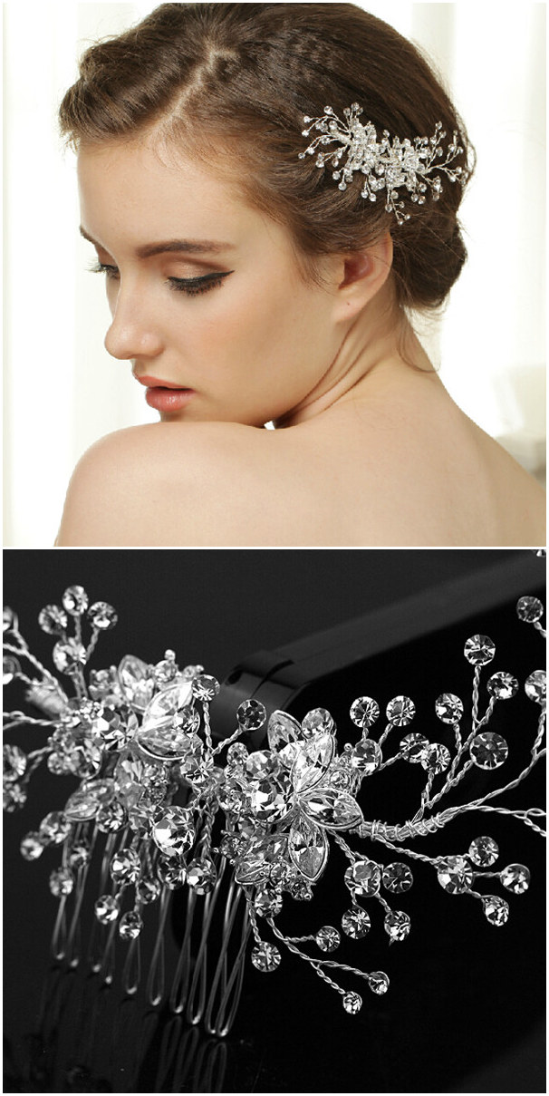 crystal bridal headpiece accessories for updo wedding hairstyles EWAHP034