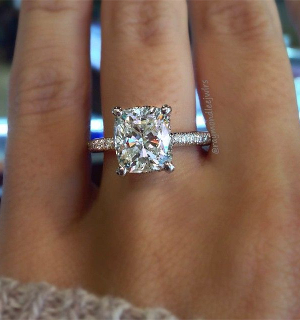 Cushion Cut Solitaire Wedding Engagement Ring On A Thin Diamond Band