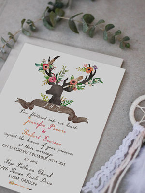 deer inspired chic rustic boho wedding invitations