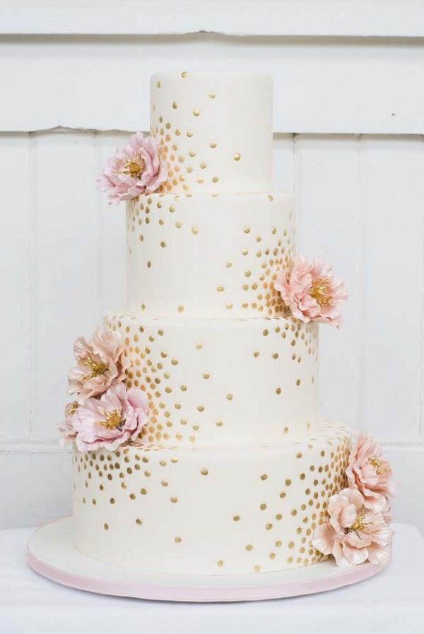 elegant gold wedding cakes with pink flowers