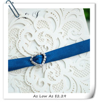 elegant laser cut wedding invitations with royal blue ribbon EWWS033-2