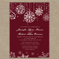 fabulous sparkle red wedding invitations for christmas and winter weddings EWI257