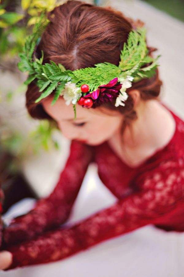 festive christmas wedding bride with  flower crown