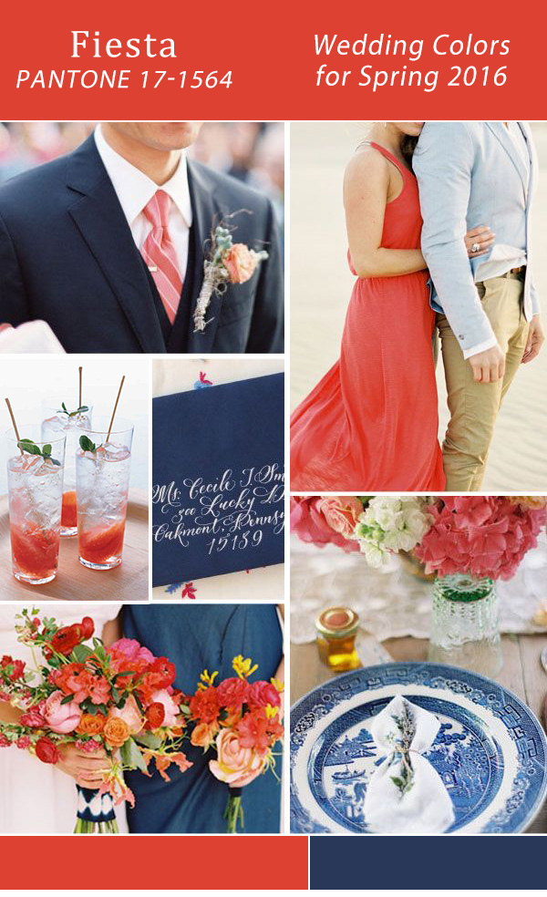 fiesta red and navy blue 2016 pantone wedding color ideas