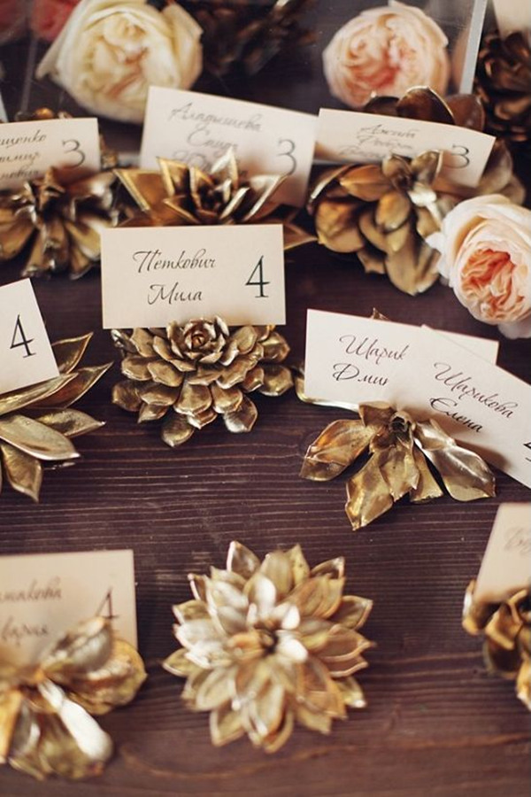 glamorous wedding ideas with succulent escort card holders