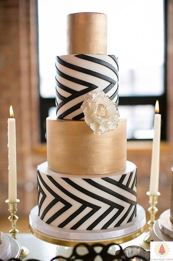 gold and black triking wedding cake designs