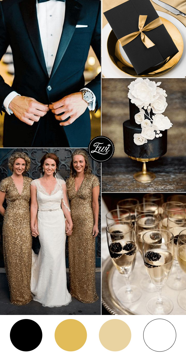 gold and black vintage wedding colors and pocket wedding invitations 2016 trends