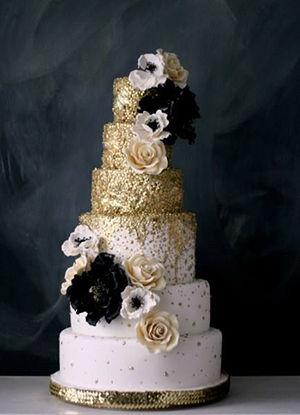 gold black and blush glittery wedding cakes