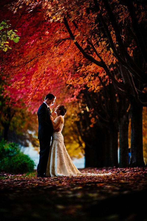 gorgeous fall wedding photos of couple under maple trees