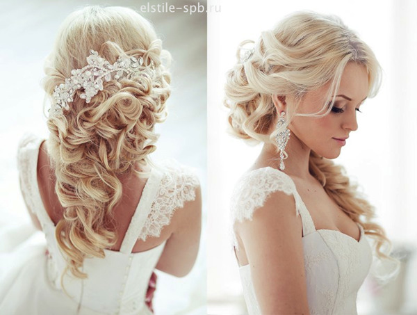 half up half down wedding hairstyles with bridal hair accessories