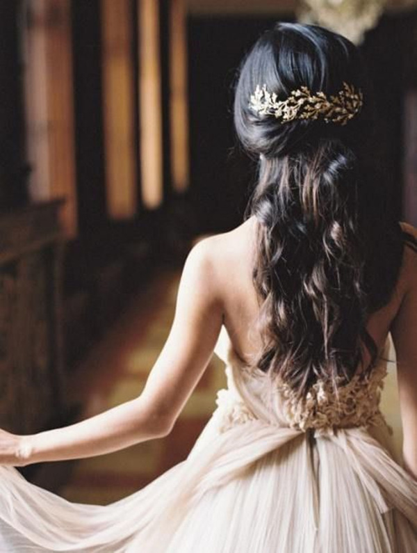 half up half down wedding hairstyles with bridal headpieces