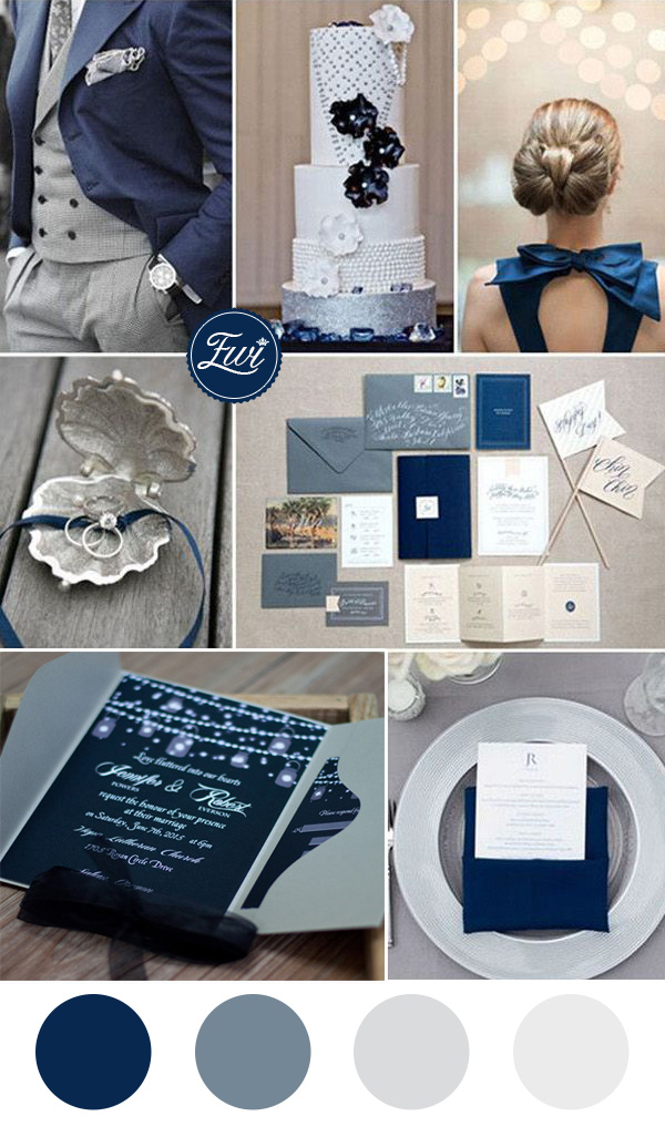Navy Blue And Gray Wedding Color Ideas Pocket Invitations