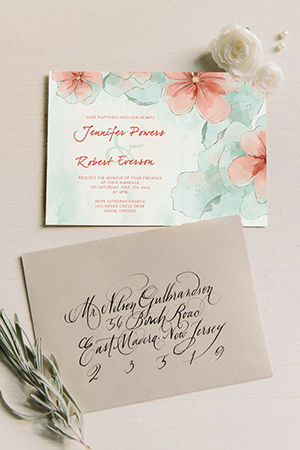 peach and mint green watercolor wedding invitations