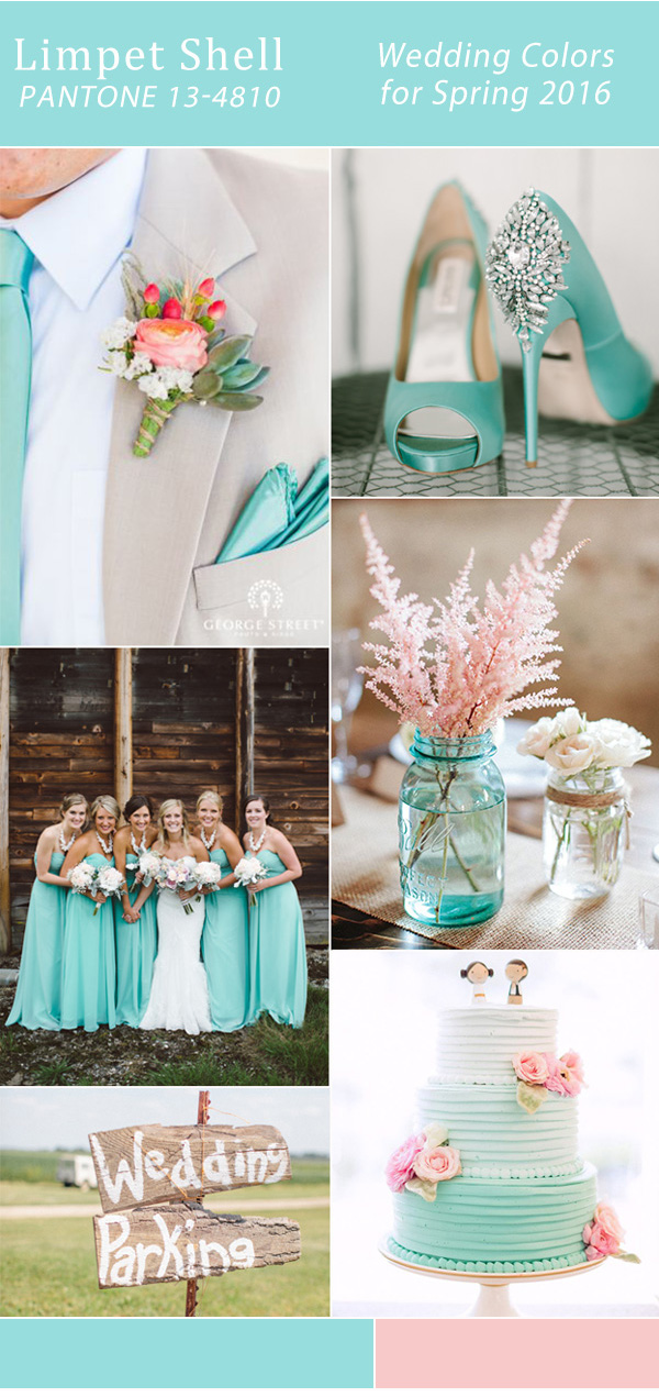 pink and aqua limpet shell pantone spring wedding color ideas 2016