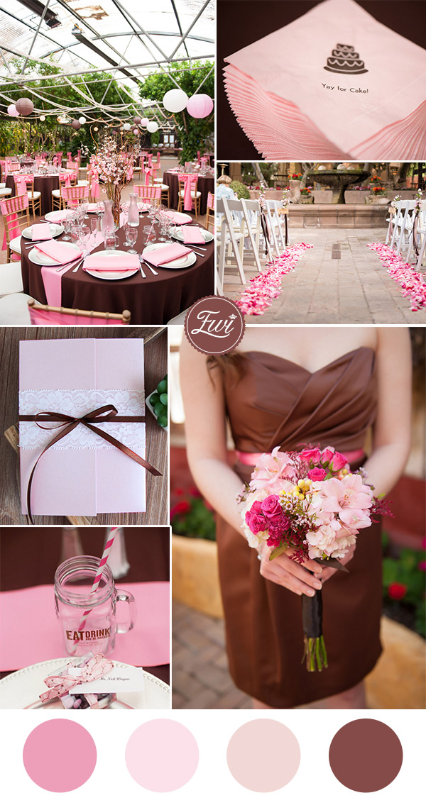 pink and chocolate brown wedding colors and pocket wedding invitations 2016