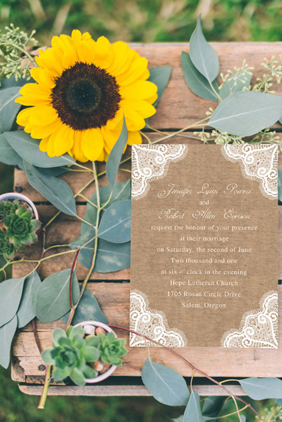 printed lace and burlap rustic wedding invitations EWI244