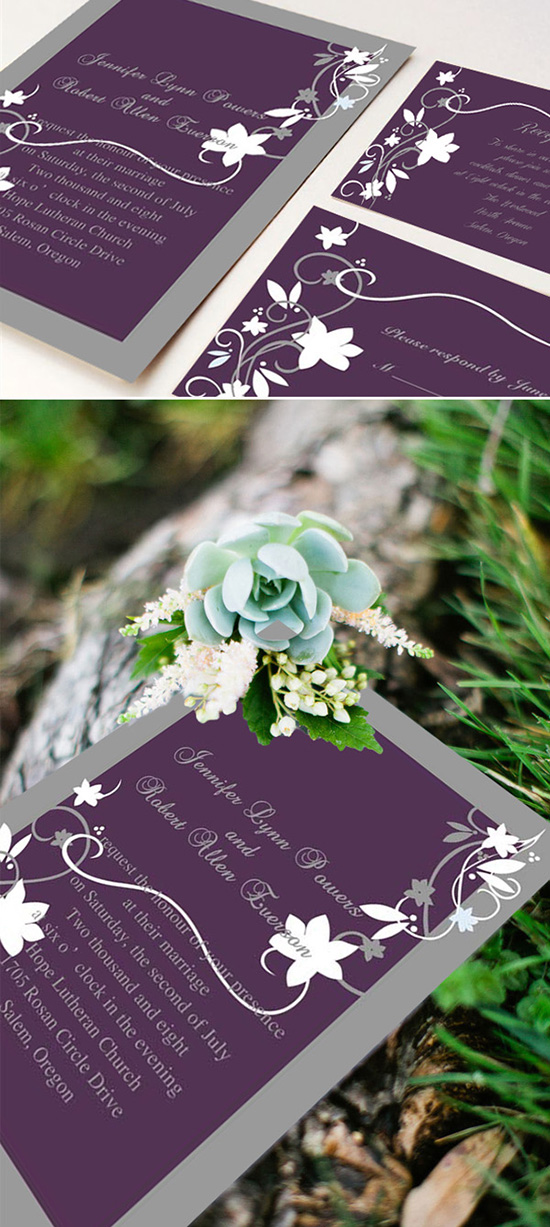 purple and gray rustic wedding invitation cards for winery wedding ideas
