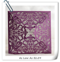purple laser cut wedding invitations for 2016 EWWS056