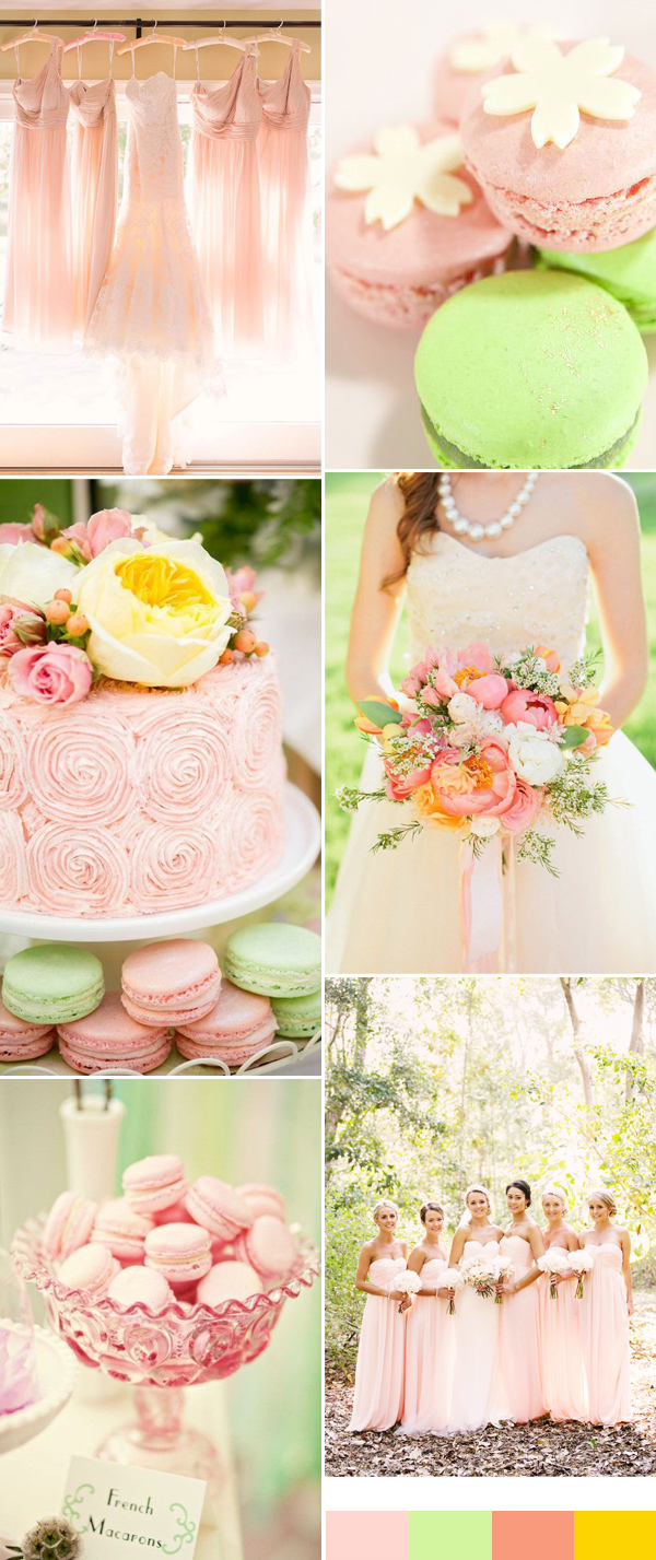 Romantic pink and green wedding color palette inspiration