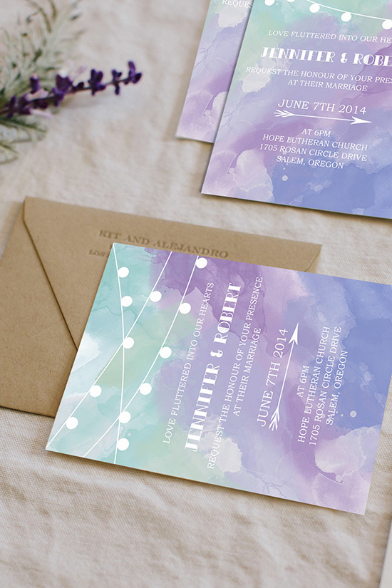 rustic chic lavender and mint watercolor wedding invitations