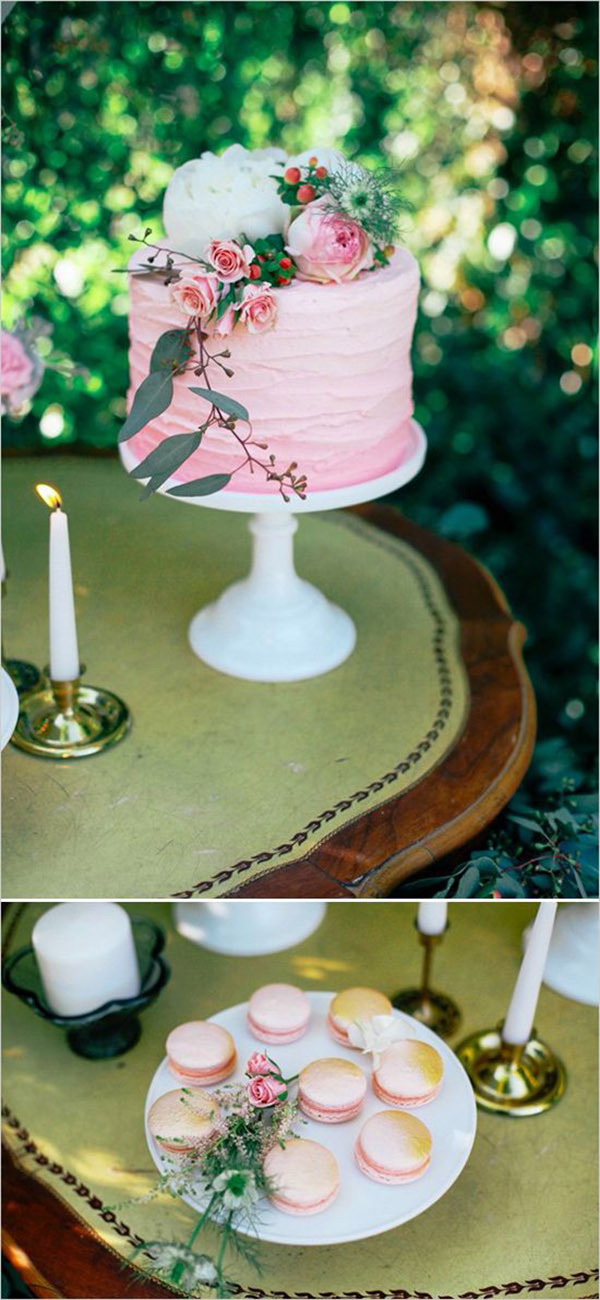 shades of pink watercolor wedding cakes and macarons
