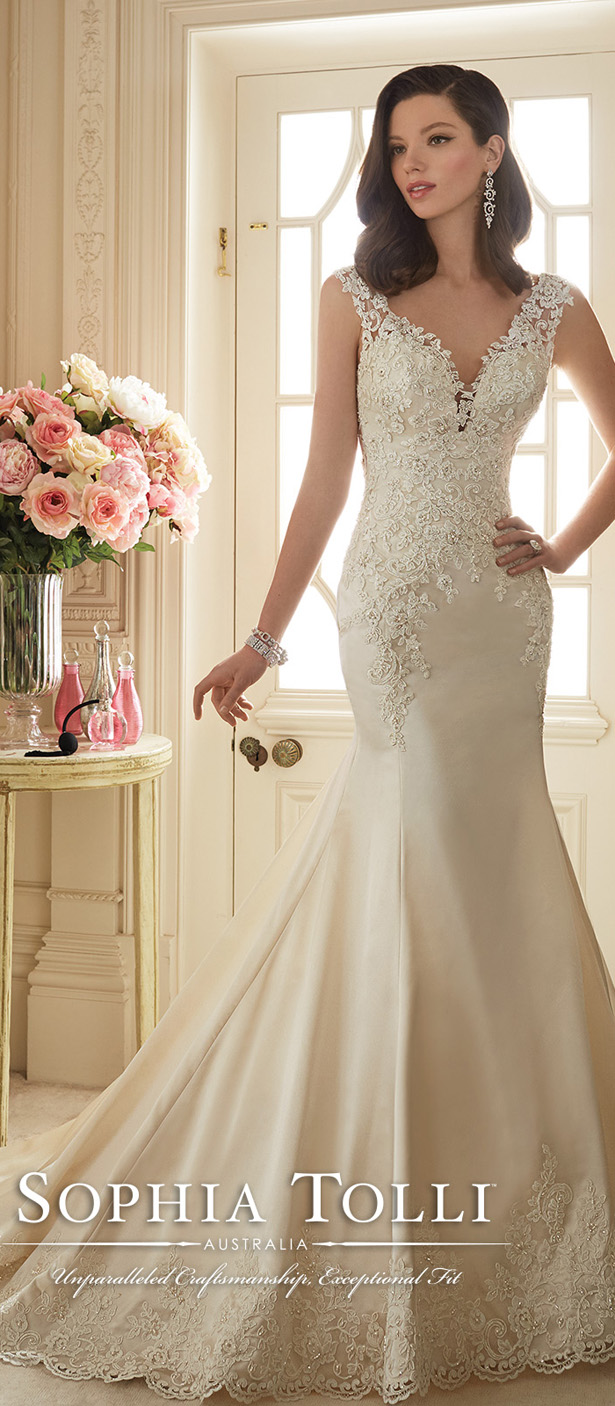 Wedding dress fit and flare lace dress