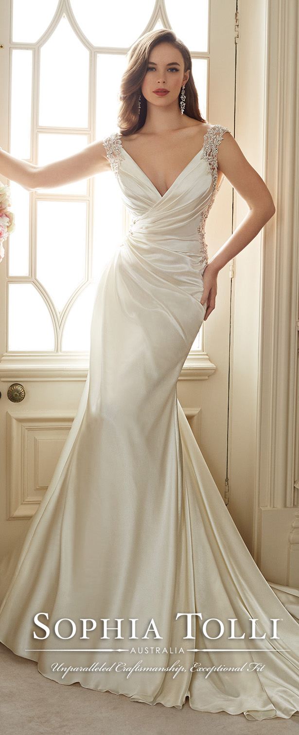 Sophia tolli wedding dresses spring 2016 bridal collection sophia tolli venus satin slim a line wedding dresses spring 2016 y11631 ombrellifo Image collections