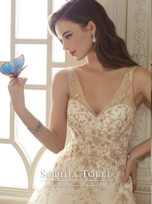 sophia tolli glittery gold wedding dresses for spring 2016 Y11650crp