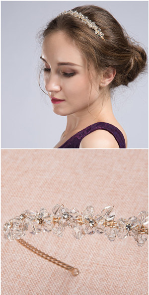 updo wedding hairstyles with crystal wedding headbands for bridal accessories EWAHP006