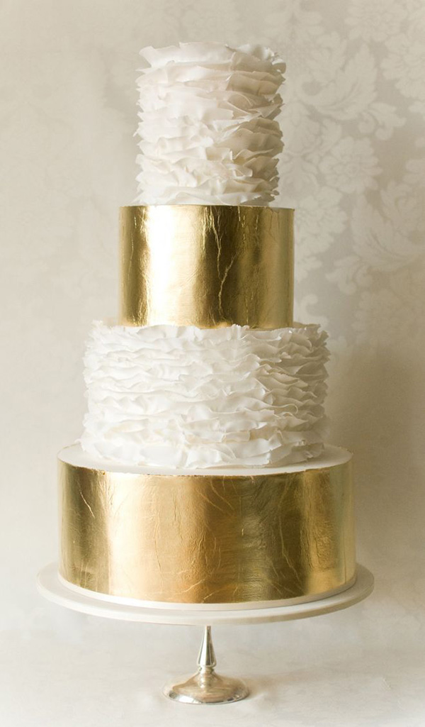 white ruffles and gold colored metallic wedding cakes