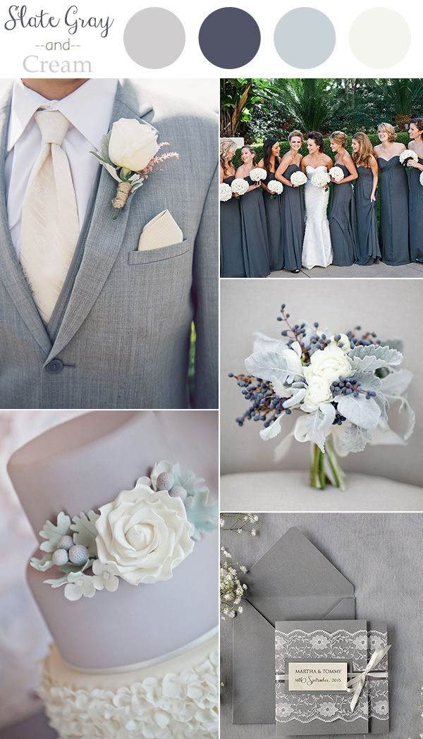 Wedding colors 2016 perfect 10 color combination ideas to love 2016 trending slate gray and cream neutral wedding color ideas junglespirit Image collections