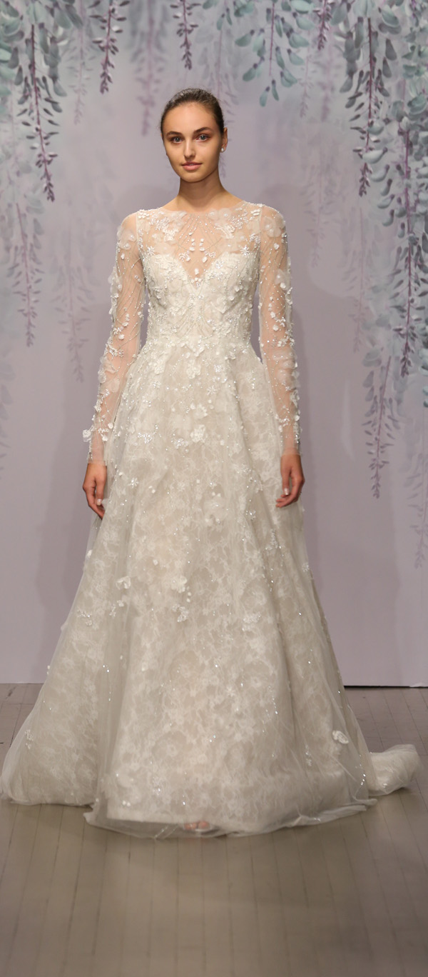Monique Lhuillier floral embroidered illusion wedding gown