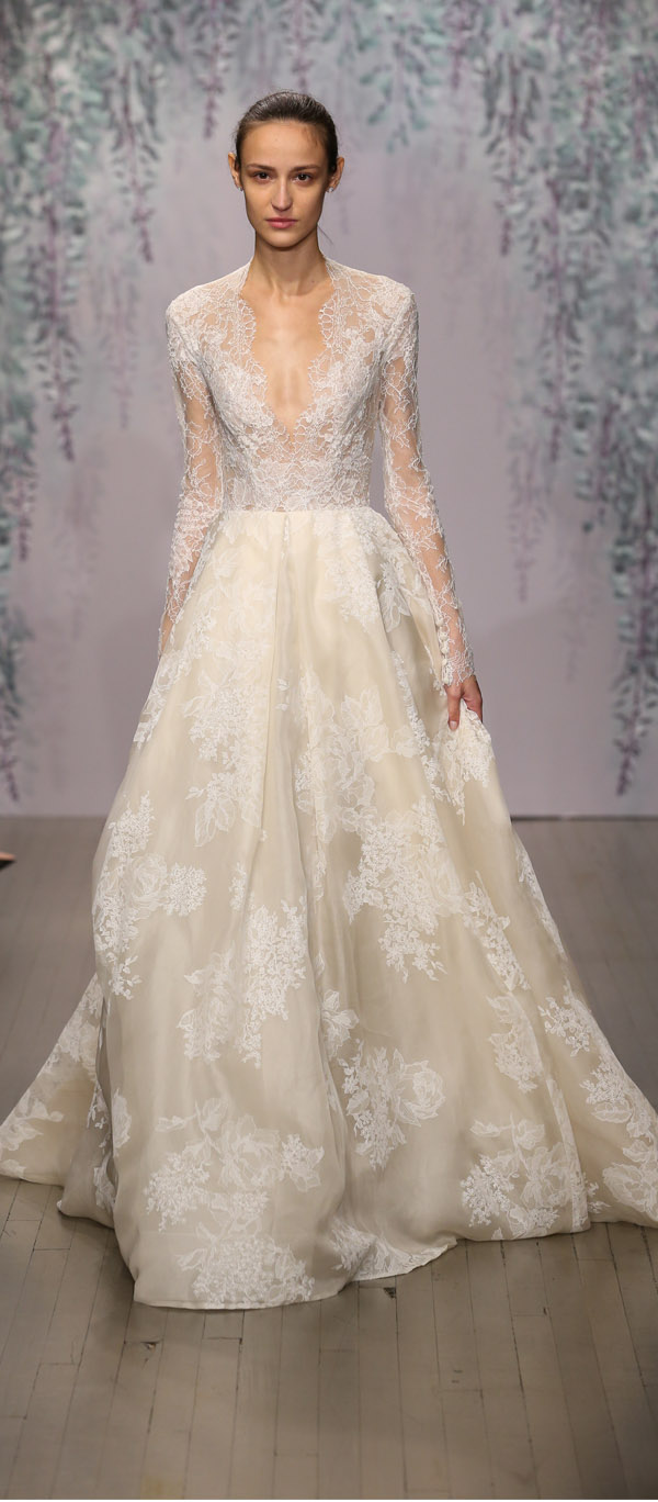 Monique Lhuillier long sleeve lace ballgown wedding dress with plunging V neckline