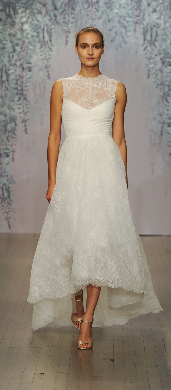 Monique Lhuillier round neck sheer lace top bridal dress from monique lhuillier 2016 fall collection