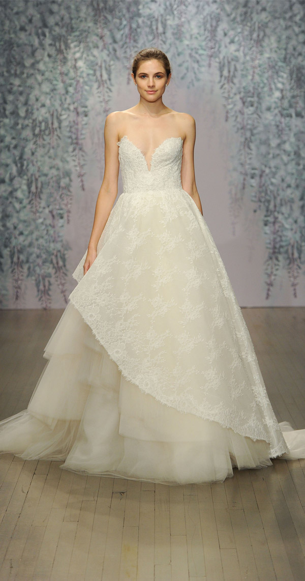 Monique Lhuillier sheer and layered lace wedding dress with deep sweetheart neckline