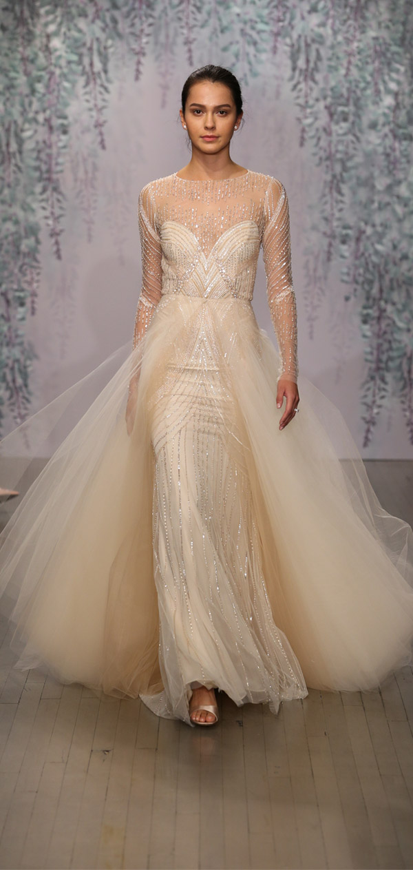 Monique lhuillier wedding dresses fall 2016 collection monique lhuillier sparkle champagne long sleeve overlay sweetheart tulle bridal gown junglespirit Gallery