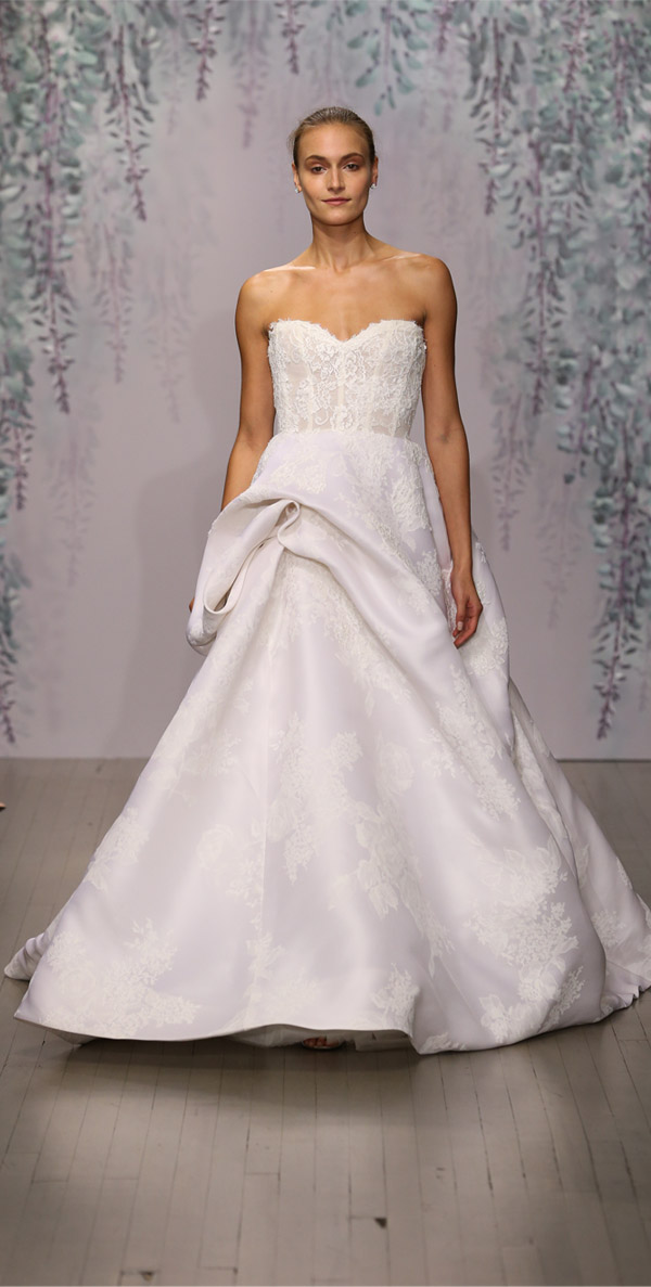 Monique Lhuillier strapless embroidered lace ballgown wedding dress with rose print silk gazaar hand tufted skirt