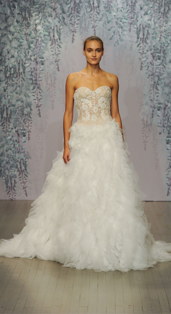 Monique Lhuillier strapless sweetheart wedding dress with sheer ruffles