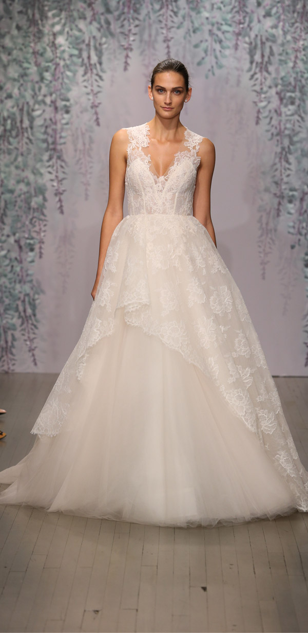 Monique Lhuillier v-neckline lace and sheer wedding dress