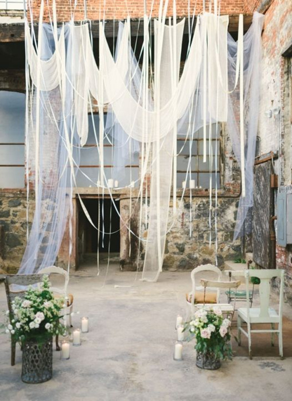 Romantic Industrial Loft Wedding Ceremony with Hanging Drapery