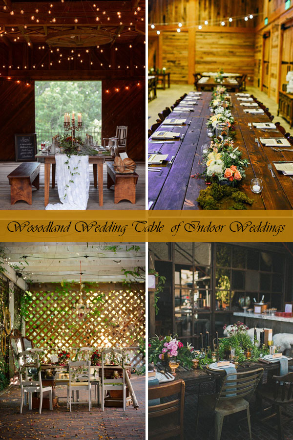 Wooodland Wedding Table of Indoor Weddings