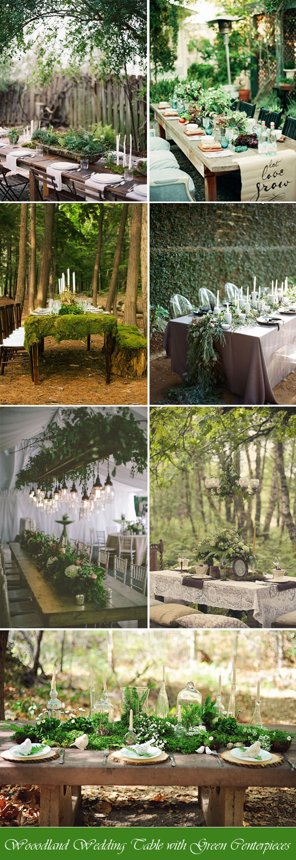 Wooodland Wedding Table with Green Centerpieces
